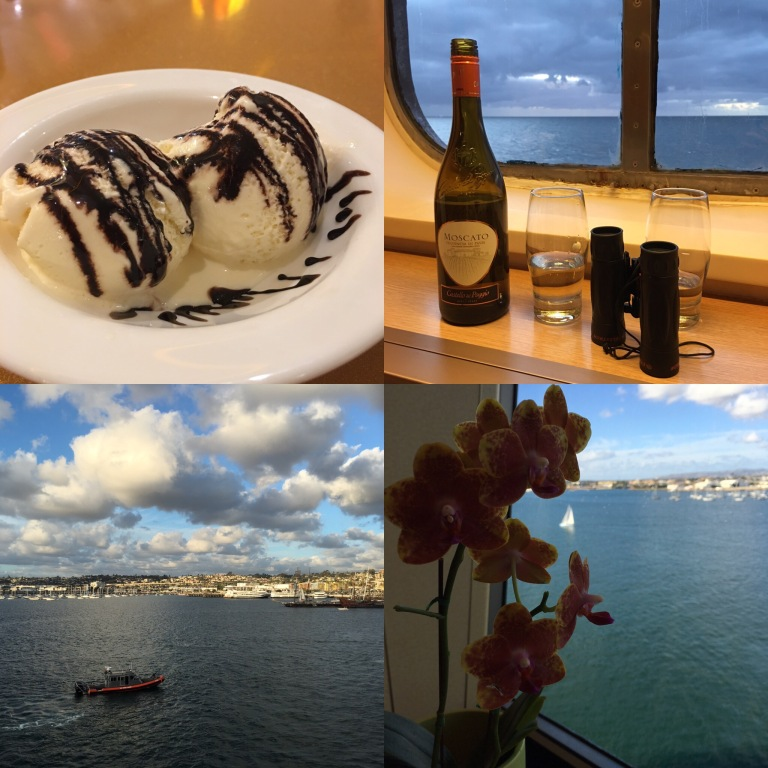 Scenes from a cruise: Food, Wine, Flowers, and Beautiful Views